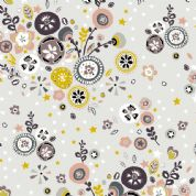 Inprint Folk - 4043 - Stylised Floral - Stone - 8948 S15 - Cotton Fabric